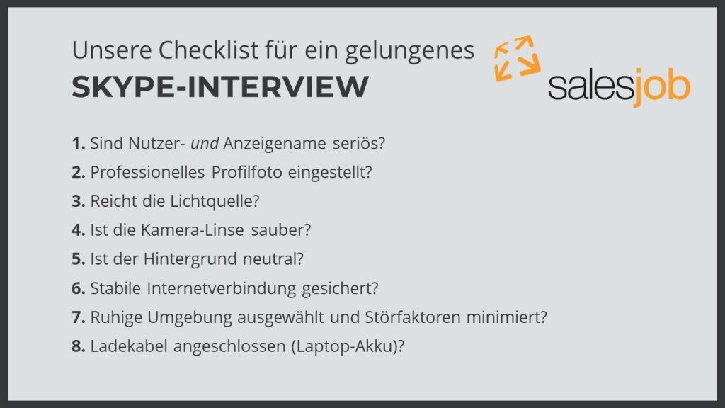 Skype-Interview Checkliste