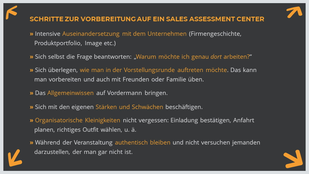 checkliste vorbereitung sales assessment center